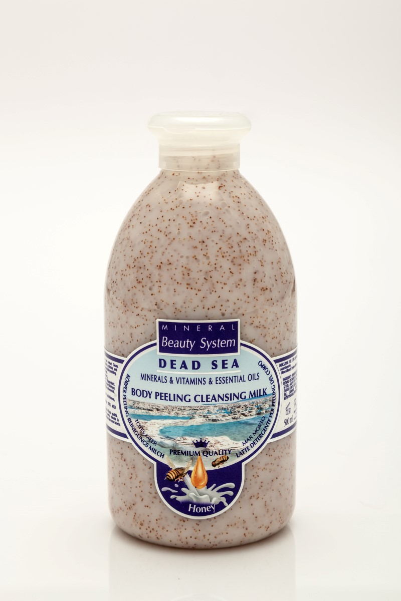 Арома пилинг мляко за тяло с минерали от Мъртво море - Мед и мляко